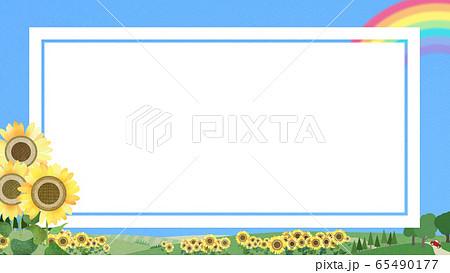 背景-フレーム-青空-夏-ひまわり 65490177