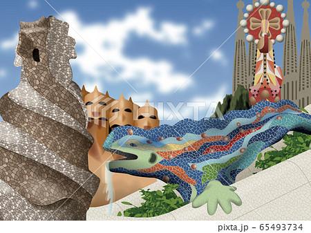 スペイン 建造物のイラスト 65493734