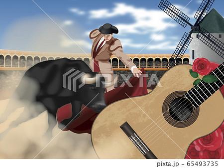 スペイン 闘牛とギターのイラスト 65493735