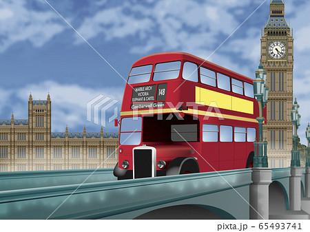 ロンドンバスとビックベンのイラスト 65493741