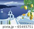 ギリシャの教会と海のイラスト 65493751