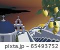 ギリシャの教会と海のイラスト 65493752