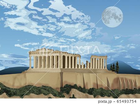 パルテノン神殿と月のイラスト 65493754