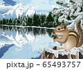 冬のカナディアンロッキーのイラスト 65493757