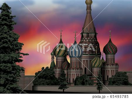 モスクワの夕景のイラスト 65493785