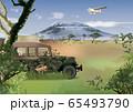 草原とジープのイメージ 65493790