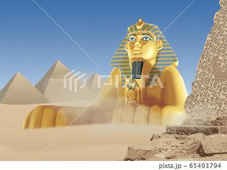 スフィンクスとピラミッドのイラスト 65493794