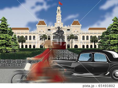 ベトナム ホーチミン市内のイラスト 65493802