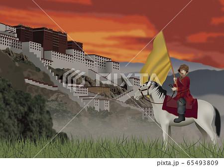 ポタラ宮殿と馬に乗った少年のイラスト 65493809
