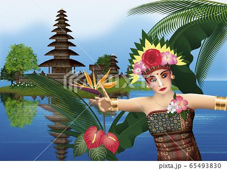 ケチャを踊る女性と寺院のイラスト 65493830