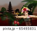 ケチャを踊る女性と寺院のイラスト 65493831