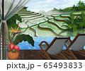 インドネシア テラスから見た朝の棚田のイラスト 65493833