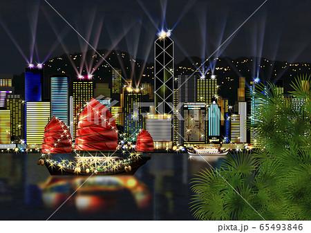 香港島の夜景のイラスト 65493846
