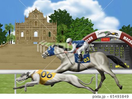 ドックレースと競馬のイラスト 65493849