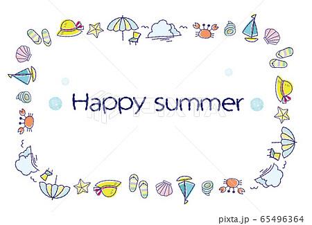 夏素材 ポストカード 暑中お見舞い ハッピーサマー 65496364
