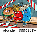 The health inspection closed the restaurant. sad fast food characters fries Cola Burger 65501150