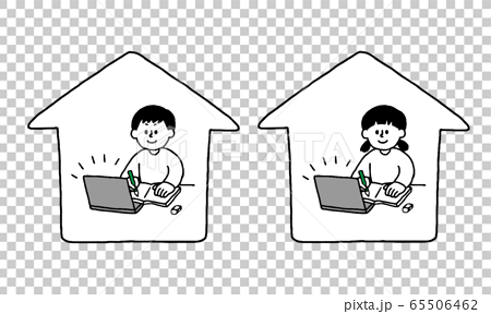 Boys and girls taking online classes at home (simple) 65506462