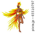 3d woman in yellow feathers costume 65510797