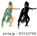 3d woman in peacock feathers costume 65510798