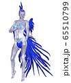 3d woman in blue feathers costume 65510799