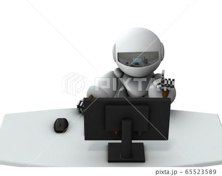 テレワークする人工知能のロボット。 65523589