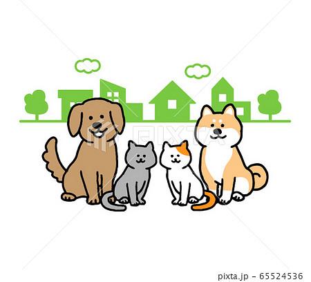 街並みと首輪なしの犬、猫(シンプル) 65524536