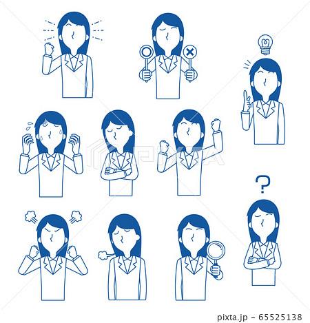 女性 会社員 抽象的 スーツ姿 感情 表情 ポーズ 青 単色 65525138