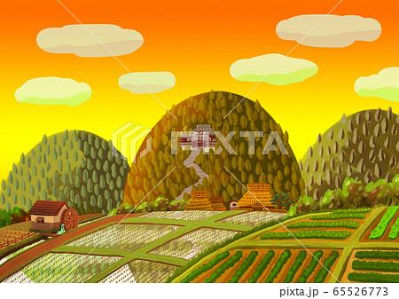 山寺のある田舎風景 65526773