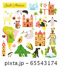Set of South American animals and famous natural 65543174