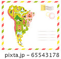 Bright postcard with map of South America with 65543178
