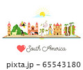 Tourist poster with symbols, animals of South 65543180