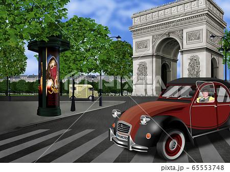 フランス 凱旋門のイラスト 65553748