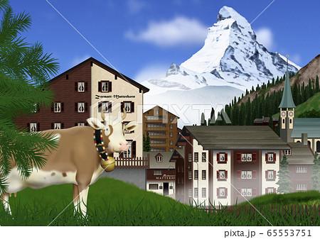 夏のマッターホルンとツェルマットの町と牛のイラスト 65553751