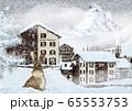 吹雪のツェルマットの町とマッターホルンとウサギのイラスト 65553753