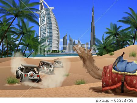 ドバイの街とラクダのイラスト 65553759