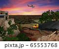 夕景のグランドキャニオンを飛ぶセスナ機とコンドルのイラスト 65553768