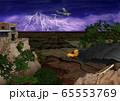 嵐のグランドキャニオンを飛ぶセスナ機とコンドルのイラスト 65553769