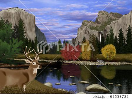秋のヨセミテ国立公園の風景とシカのイラスト 65553785