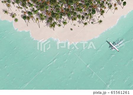 タヒチアンブルーの海と島 65561261