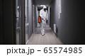 Men in hazmat suits disinfecting building 65574985