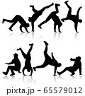 Set Black Silhouettes breakdancer on a white 65579012