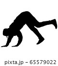 Black Silhouettes breakdancer on a white 65579022