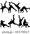 Set Black Silhouettes breakdancer on a white 65579027