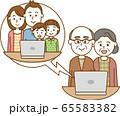ノートパソコンを使用してテレビ電話で会話をしている家族のイメージイラスト 65583382