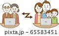 ノートパソコンを使用してテレビ電話で会話をしている家族のイメージイラスト 65583451