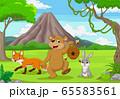 Cartoon wild animals in the forest 65583561