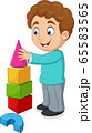 Cartoon boy playing with building blocks 65583565