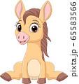 Cartoon funny baby horses sitting 65583566