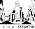 渋谷のような繁華街の線画風景 65589746