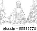 渋谷のような繁華街の線画風景。漫画の背景。イメージに。 65589778